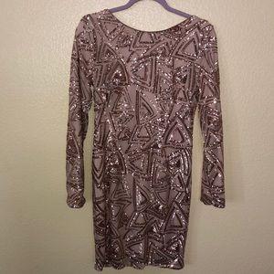 Long sleeve sequence mini dress